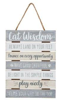 Wooden Cat Wisdom Plaque/Sign WAS £11.99