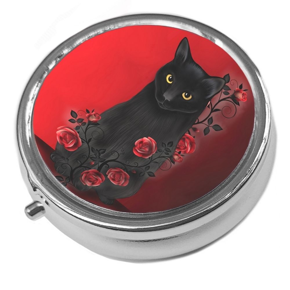 Ebony Rose - Metal Pill Box - Cat Trinket Box - Black Cat & Roses