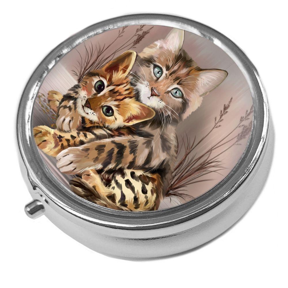 Best Friends - Metal Pill Box - Cat Trinket Box