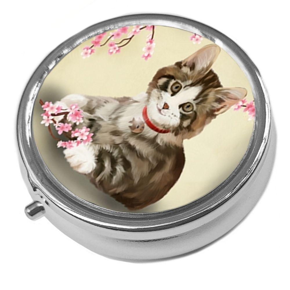Jess - Metal Pill Box - Cat Trinket Box
