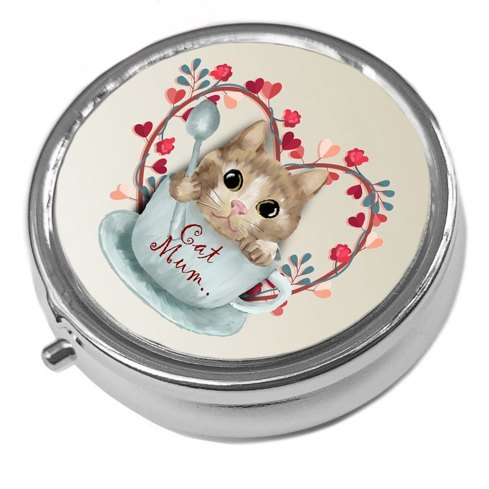 Cat Mum - Metal Pill Box - Cat Trinket Box