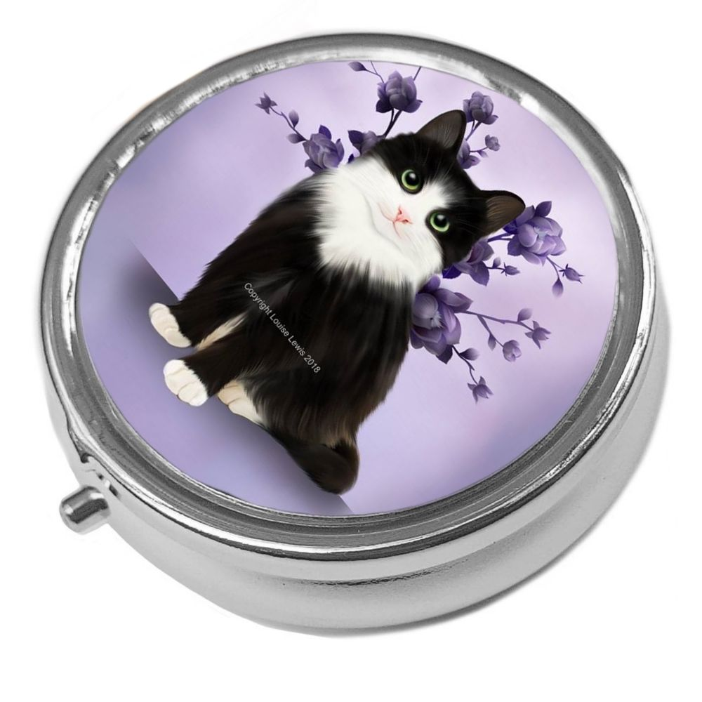 Lilac - Metal Pill Box - Cat Trinket Box