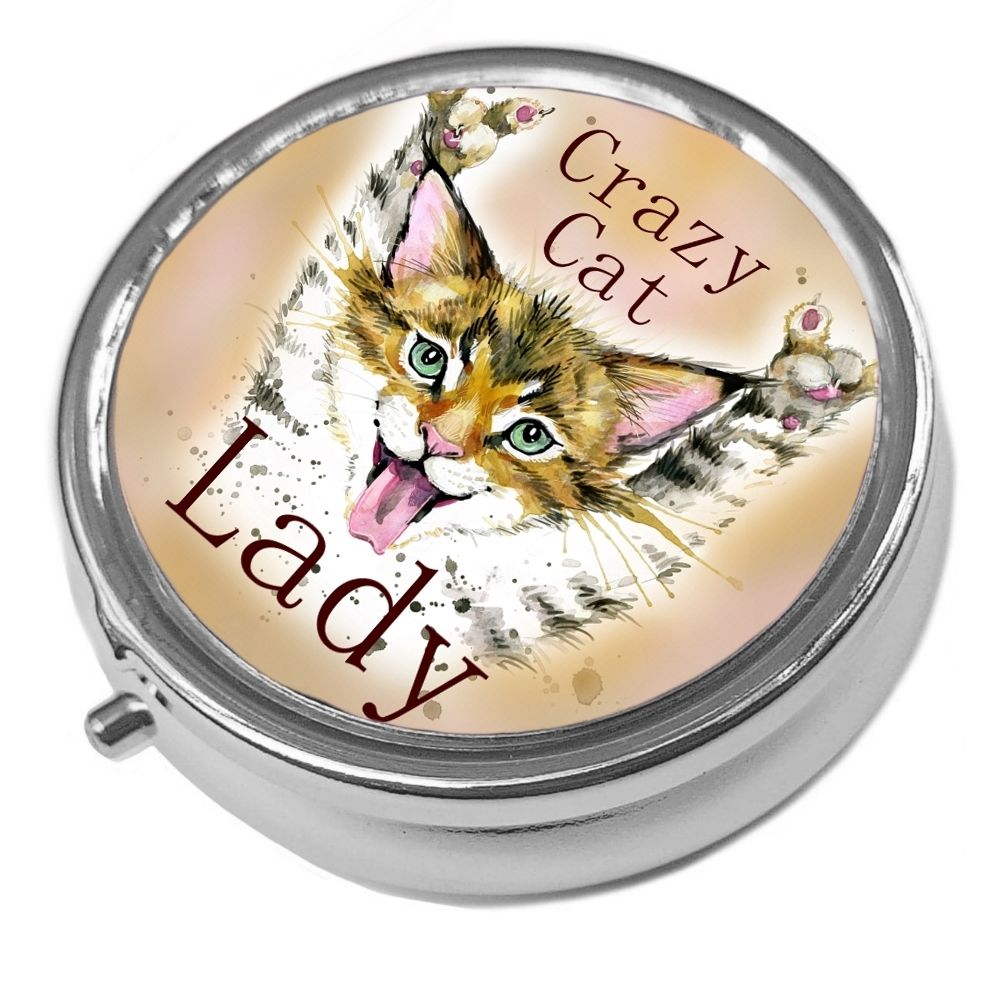 Crazy Cat Lady - Metal Pill Box - Cat Trinket Box