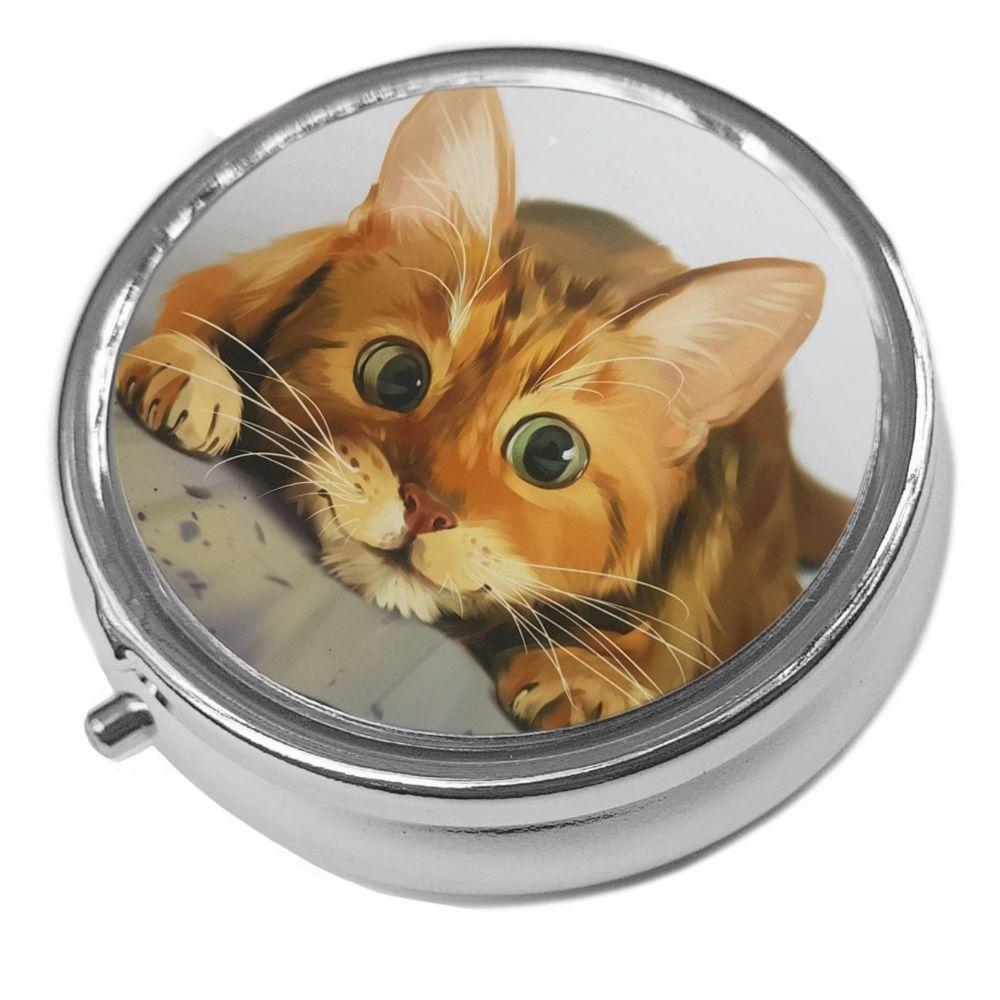 Lets Play - Metal Pill Box - Cat Trinket Box