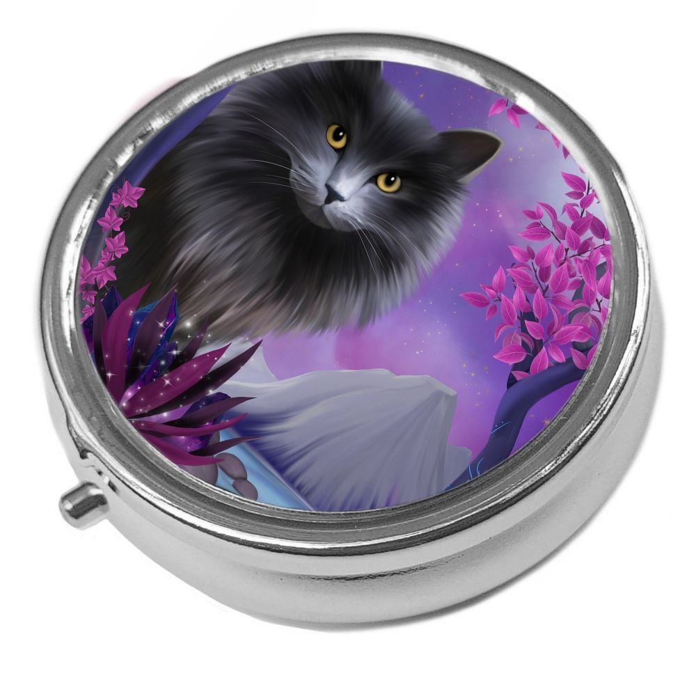 Obsidion - Metal Pill Box - Cat Trinket Box