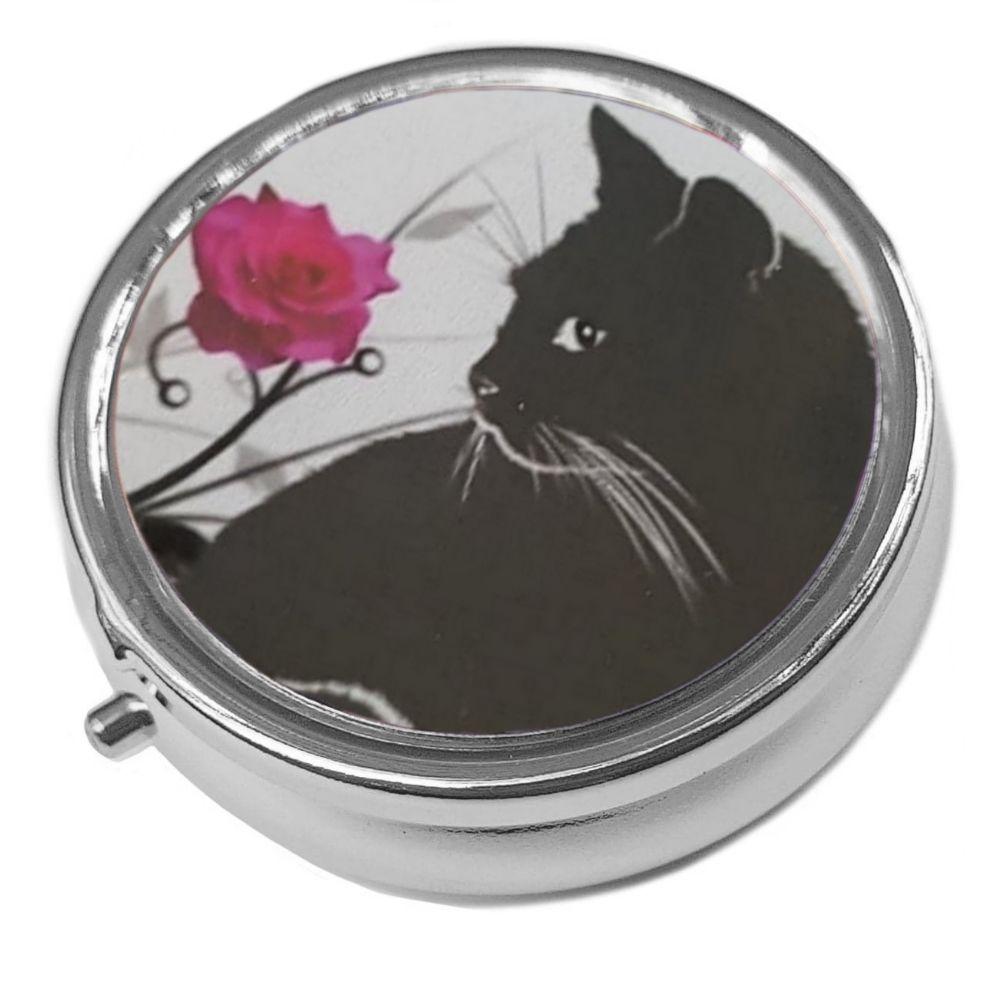 Just Looking - Metal Pill Box - Cat Trinket Box