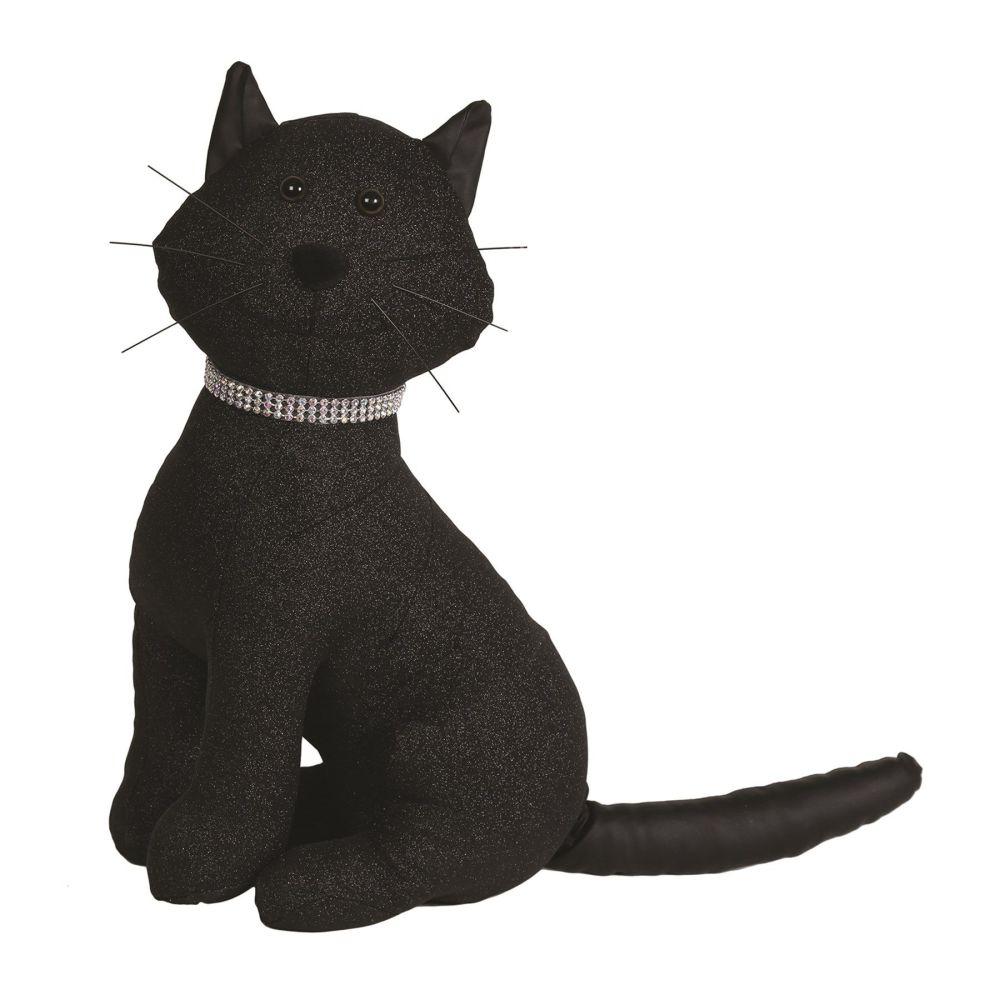 27481 - Sitting Cat Doorstop - Black Glitter Cat