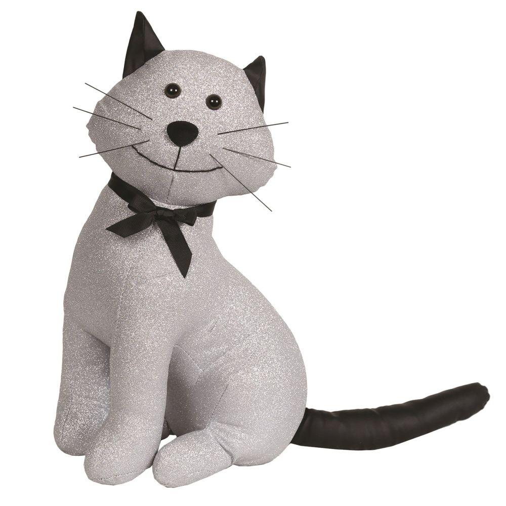 27482 - Sitting Cat Doorstop - Silver Glitter Cat