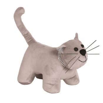 28209 - Grey Cat Doorstop With Glitter Collar