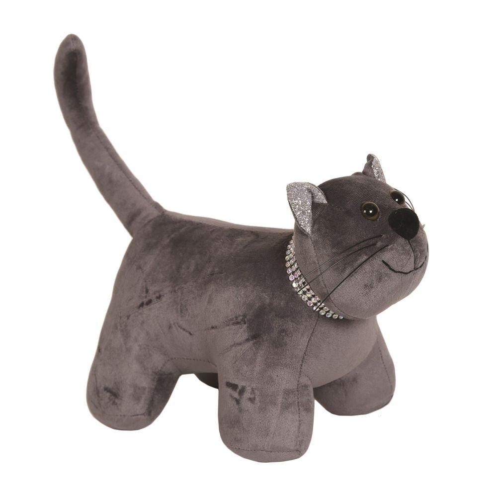 28210 - Dark Grey Cat Doorstop With Glitter Collar