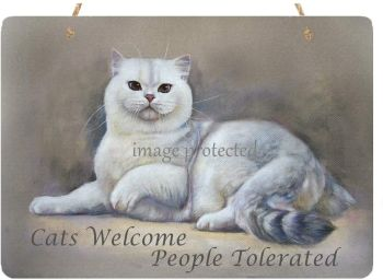Cats Welcome People Tolerated Metal Wall Sign - Cat Sign