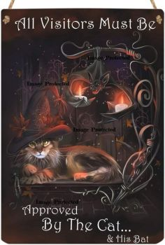 Hanging Metal Sign - All Visitors Must be Approved by the Cat and His Bat - Black Cat/Witches Cat