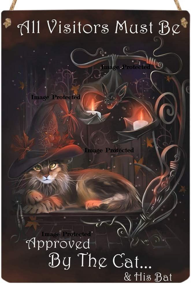 Hanging Metal Sign - All Visitors Must be Approved by the Cat and His Bat -