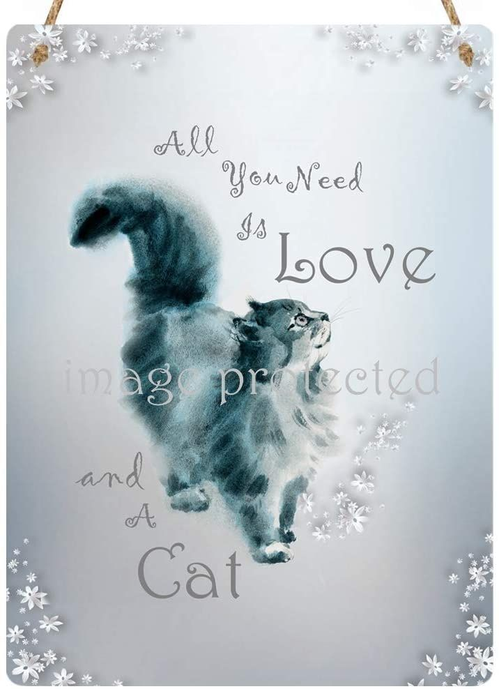 Hanging Metal Sign - All You Need Is Love And A Cat