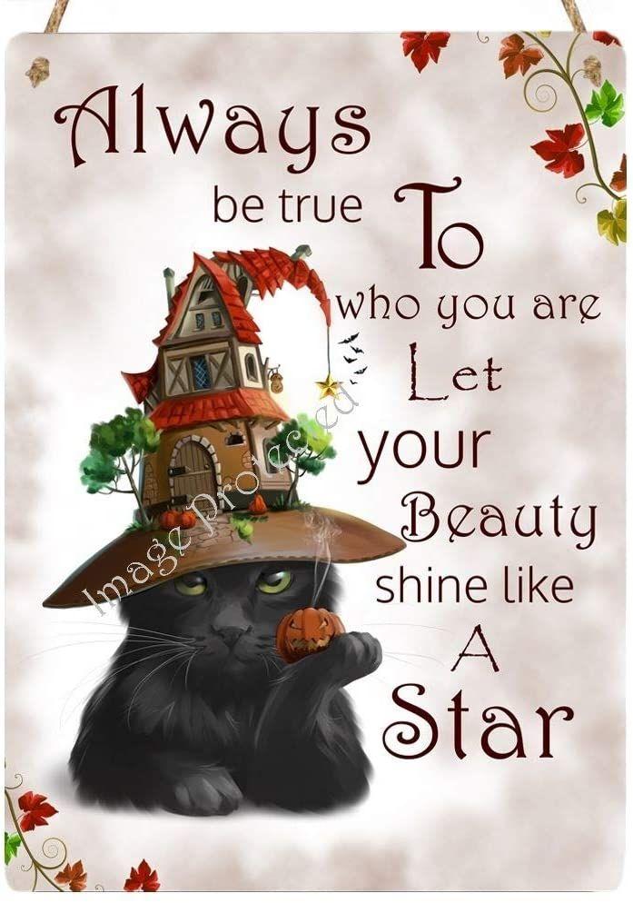 Hanging Metal Sign - Black Cat Cosmo - Always Be True.