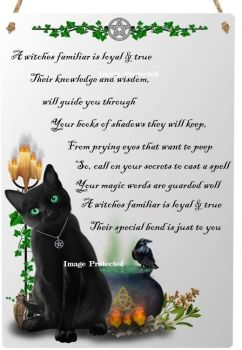 Hanging Metal Sign - A Witches Familiar - Black Cat, Cauldron & Spell Bottles - Bespoke Design & Poem