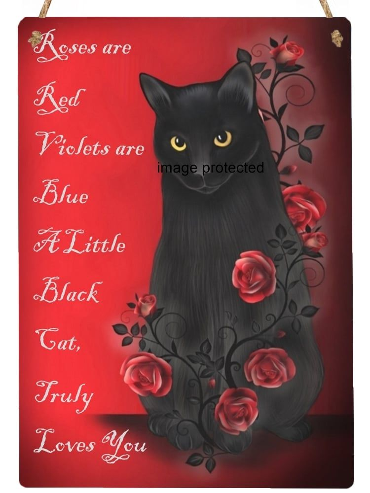 Hanging Metal Sign - Ebony Rose - Roses Are Red..