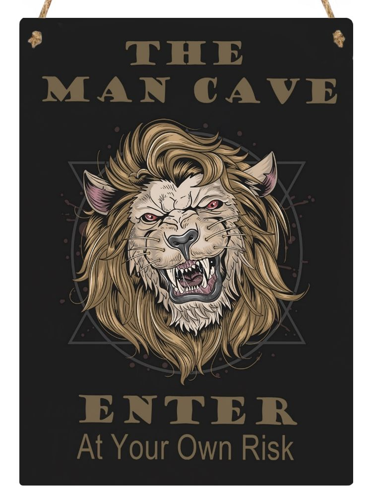 Hanging Metal Sign - Lion - Man Cave