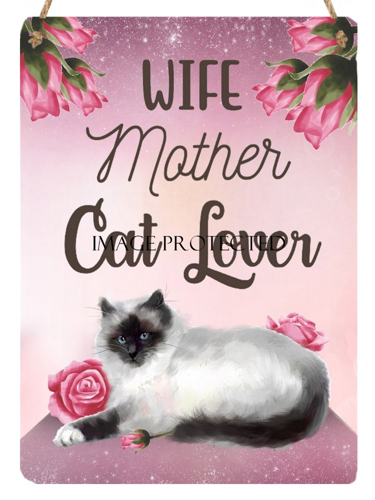 Hanging Metal Sign - Wife, Mother, Cat Lover