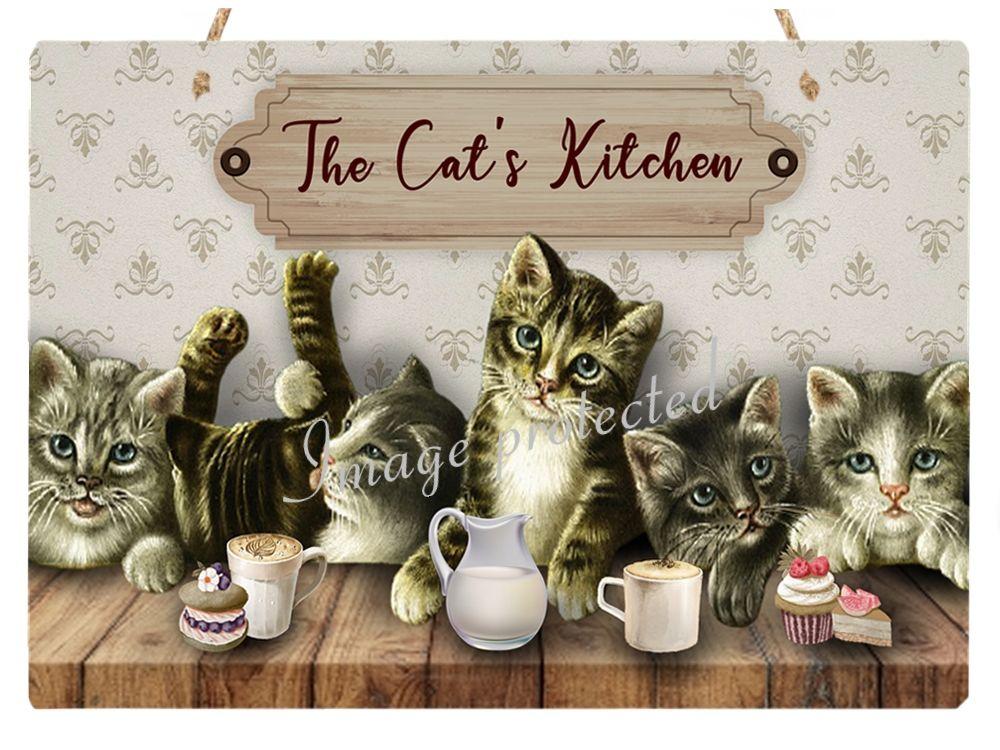 Hanging Metal Sign - Cat's Kitchen