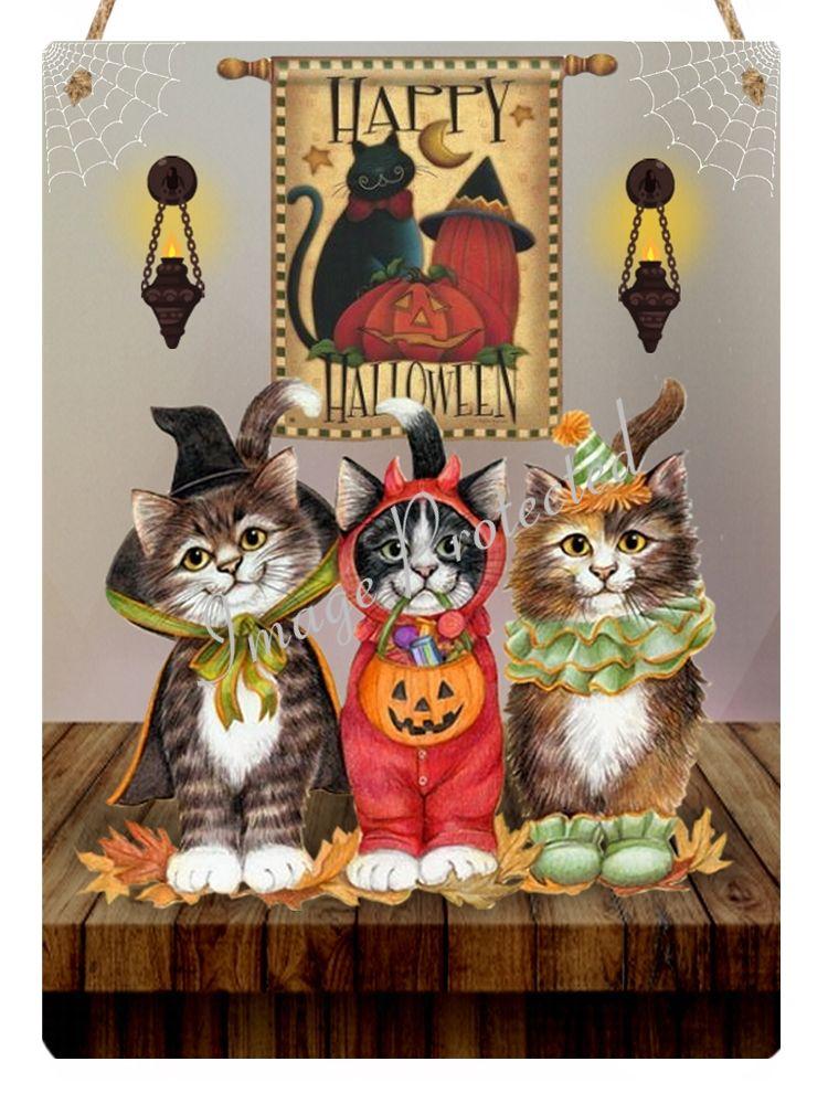 Hanging Metal Sign - Vintage Happy Halloween