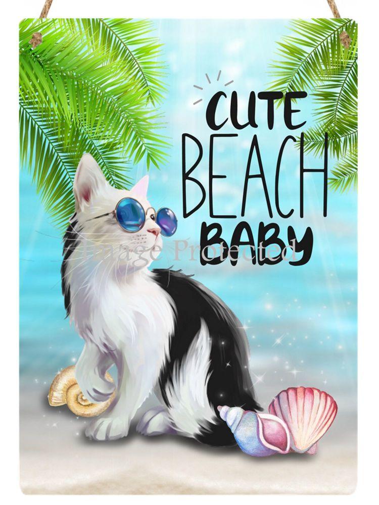 Hanging Metal Sign - Beach Baby