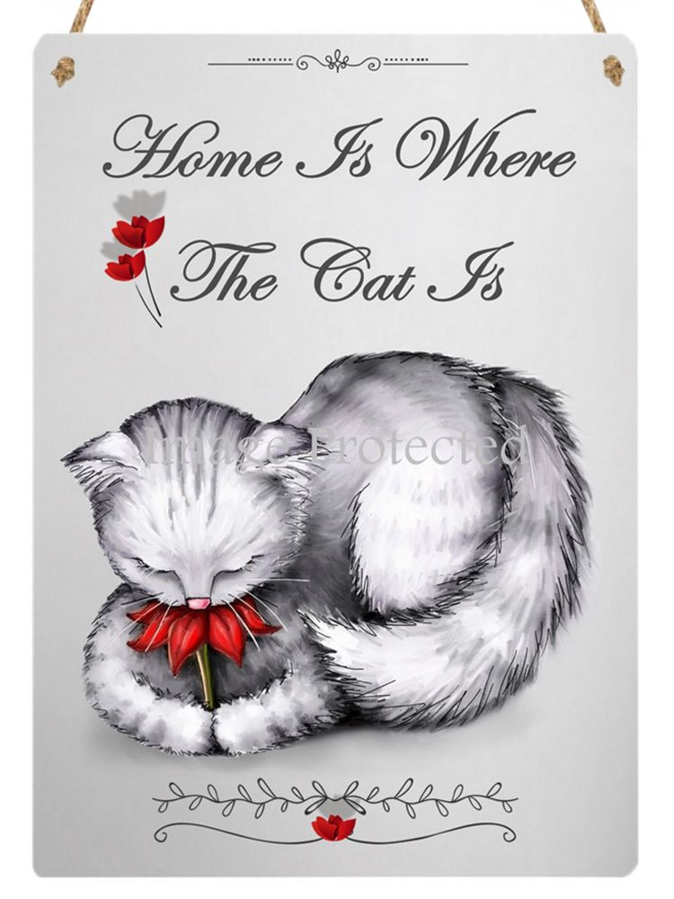Hanging Metal Sign - Petal - Home Is Where The Cat Is