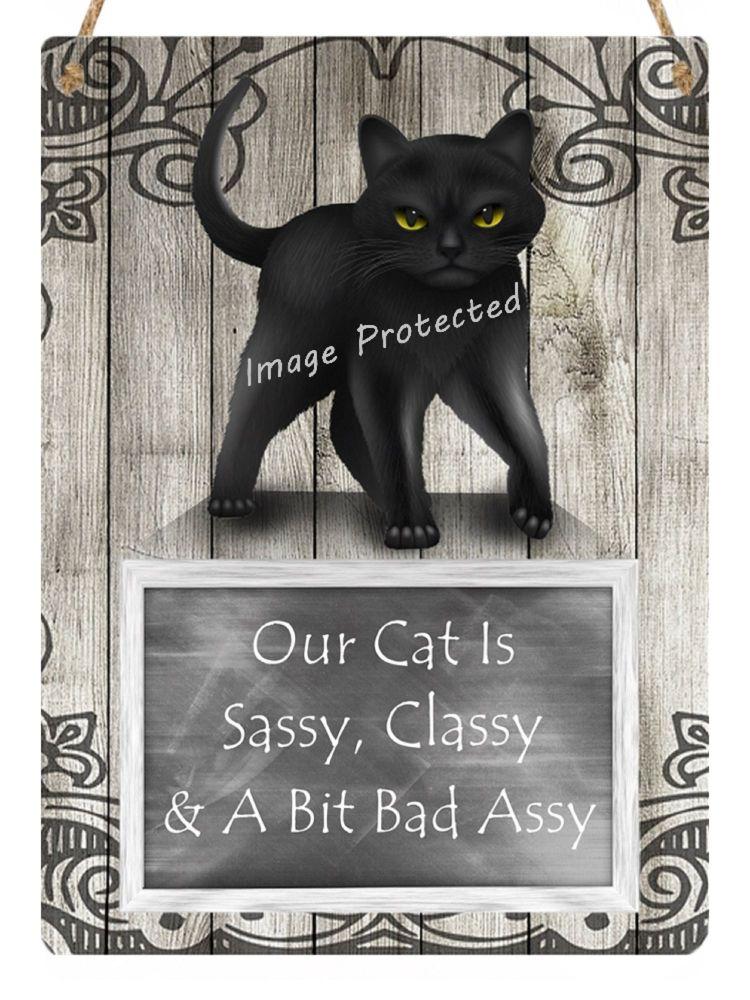 Hanging Metal Sign - Black Cat, Sassy, Classy, Bad Assy