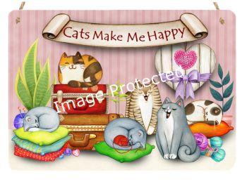 Cutie Cats - Hanging Metal Sign - Cats Make Me Happy