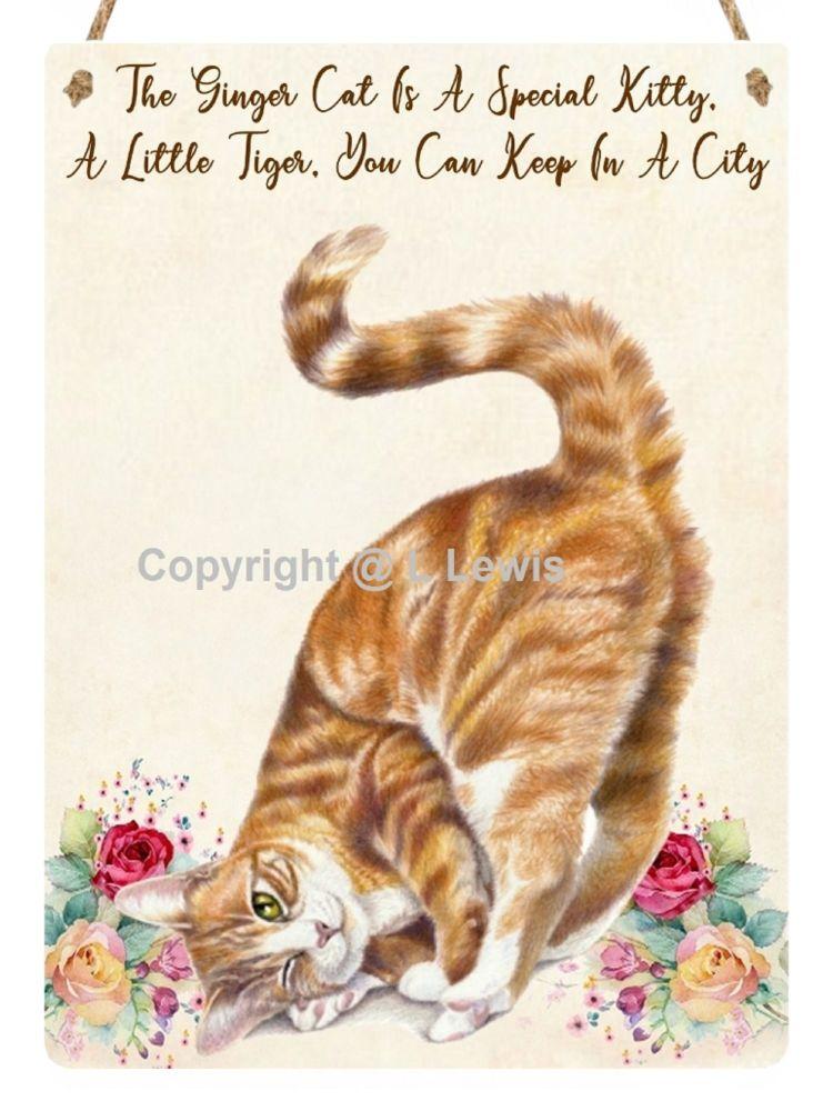 Hanging Metal Sign - Ginger Kitty..