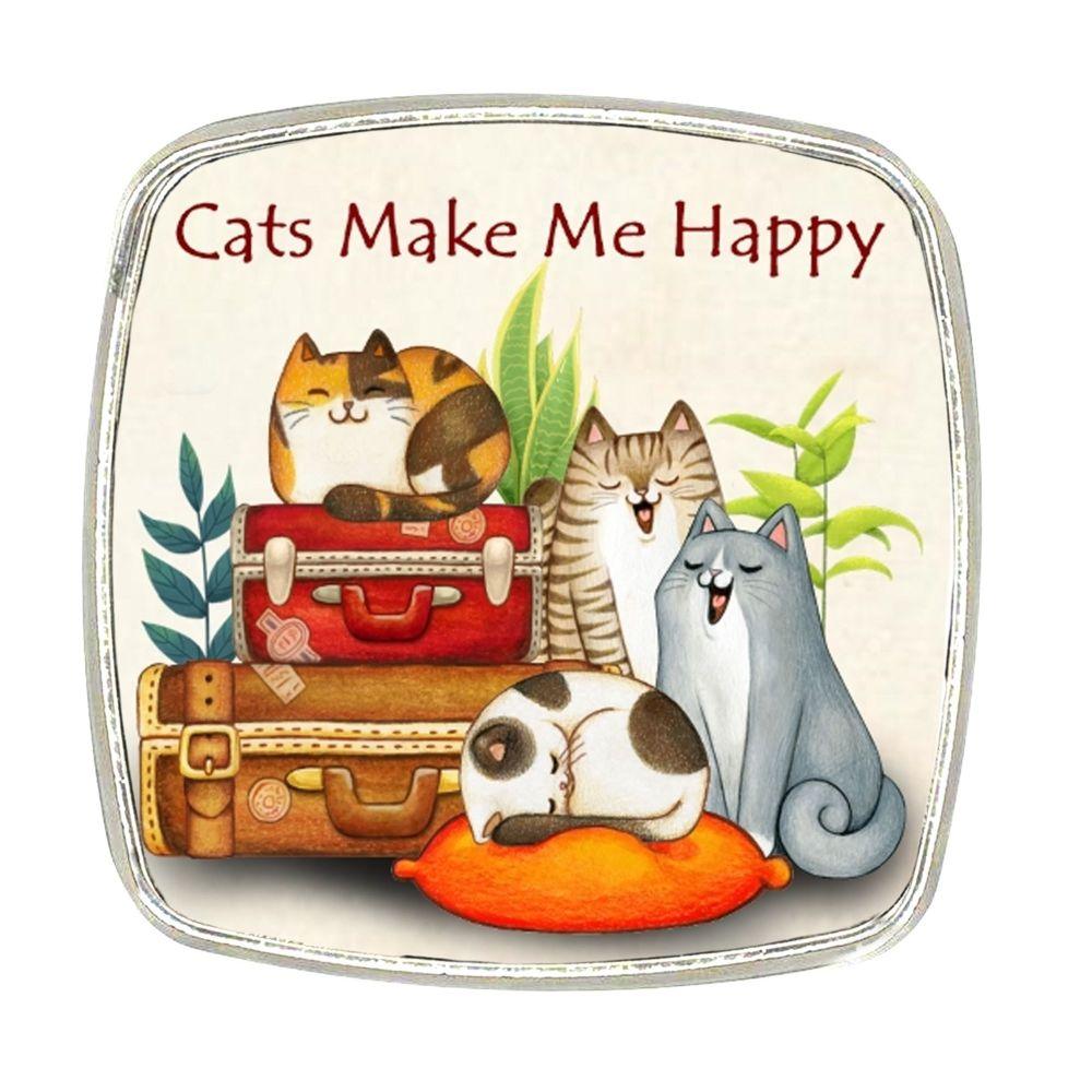 Chrome Finish Metal Magnet - Cats Make Me Happy