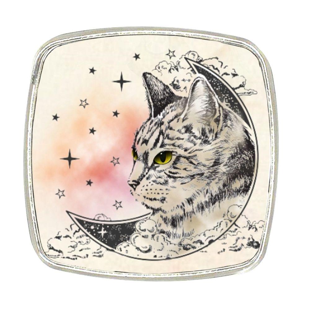 Chrome Finish Metal Magnet - Cat Face Moon