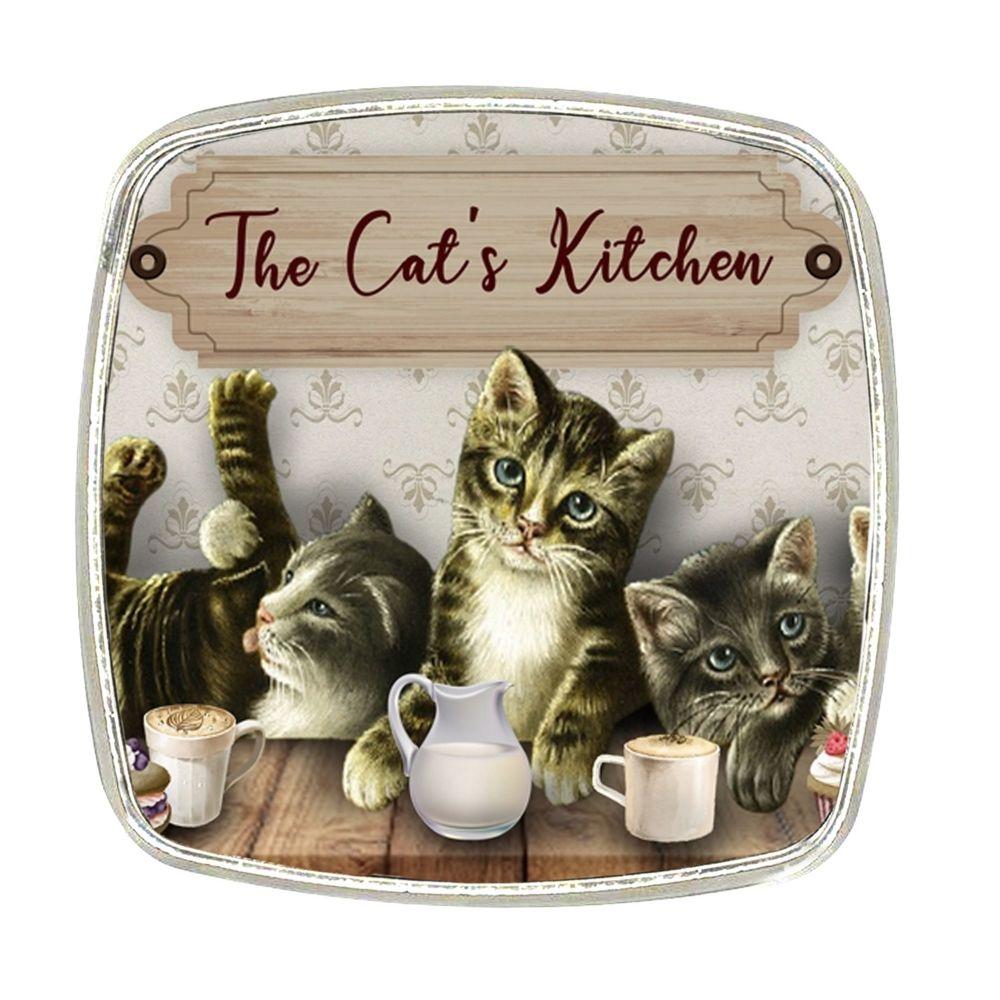 Chrome Finish Metal Magnet - Cats Kitchen