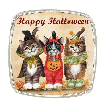 Chrome Finish Metal Magnet - Vintage Cats - Happy Halloween