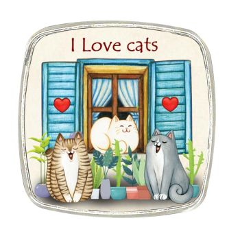 Chrome Finish Metal Magnet - I Love Cats