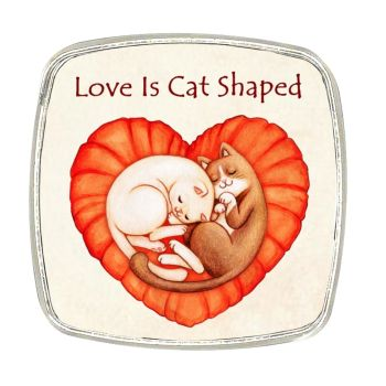 Chrome Finish Metal Magnet - Love Is Cat Shaped