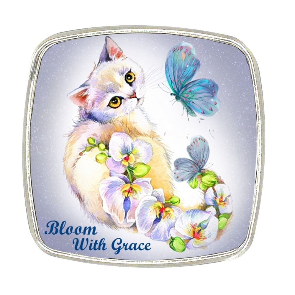 Chrome Finish Metal Magnet - Orchid Bloom With Grace