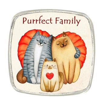 Chrome Finish Metal Magnet - Purrfect Family