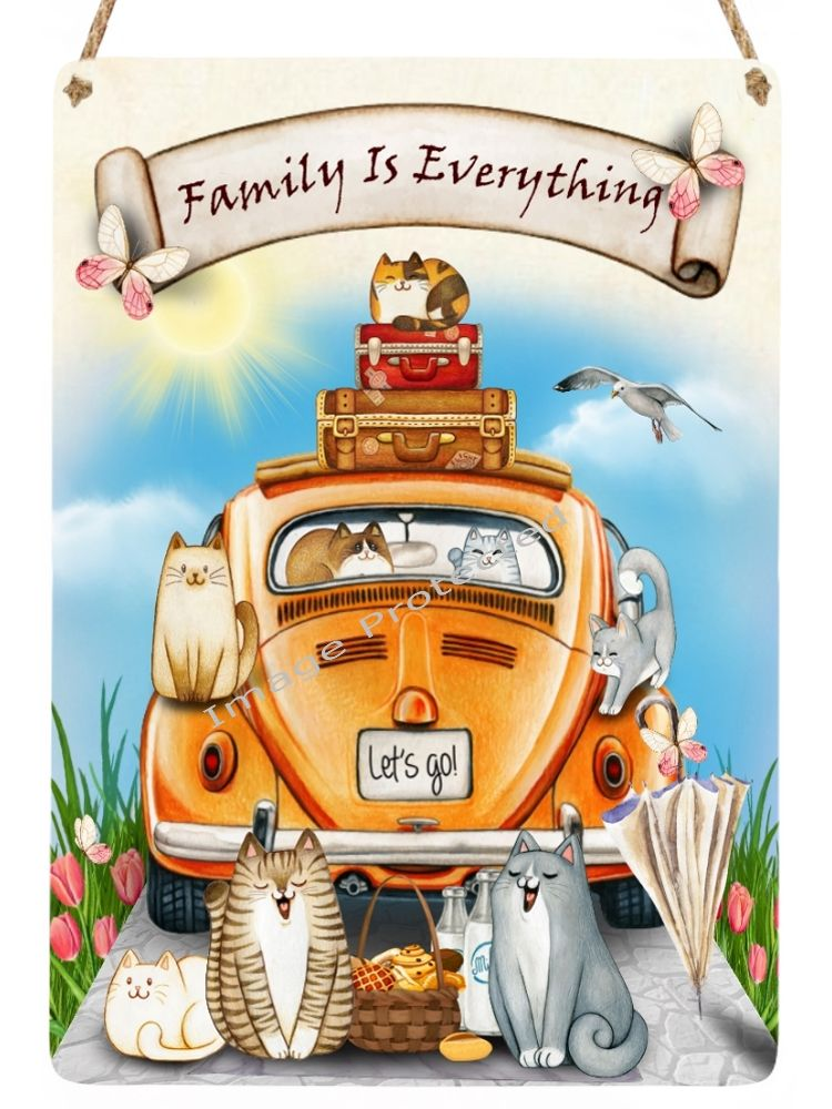 Cutie Cats - Hanging Metal Sign - - Family Means Everything