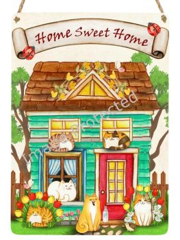 Cutie Cats - Hanging Metal Sign - Home Sweet Home