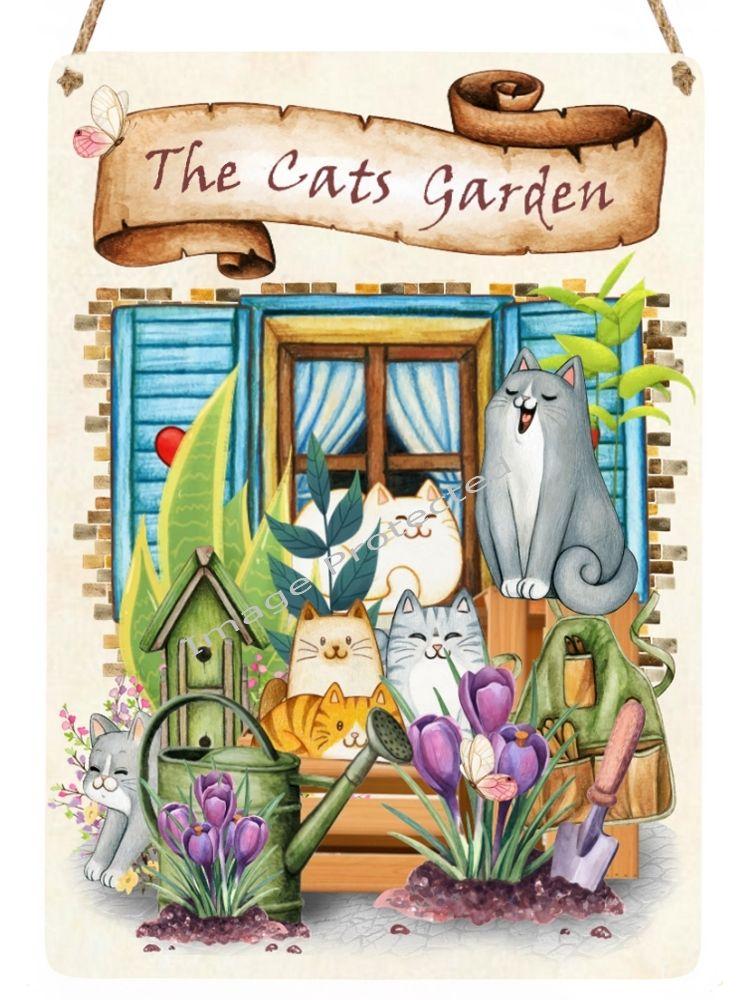 Cutie Cats - Hanging Metal Sign - The Garden