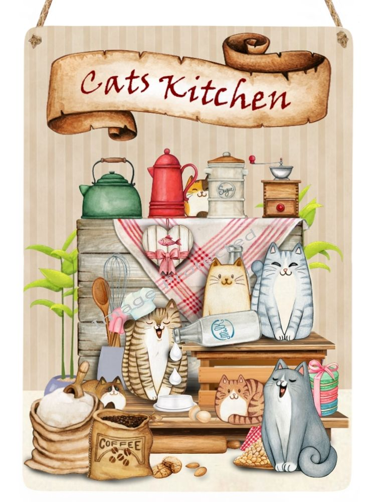 Cutie Cats - Hanging Metal Sign - The Kitchen