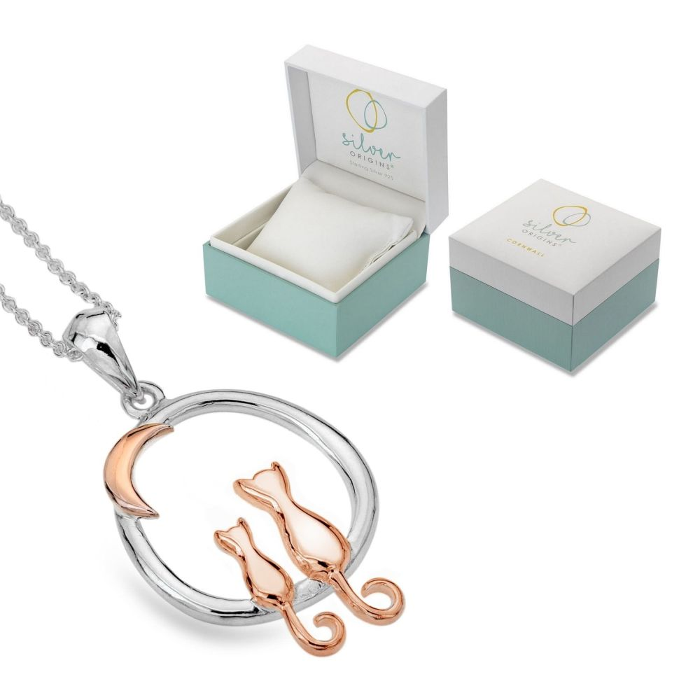 Sterling Silver 925 & Rose Gold Plated - Origins - Cat Couple & Moon Neckla