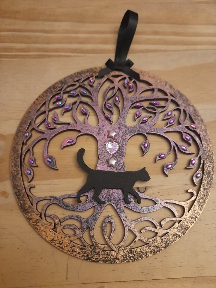 Tree Of Life Hanging Decoration - (2 Pink Stars & Pink Heart)