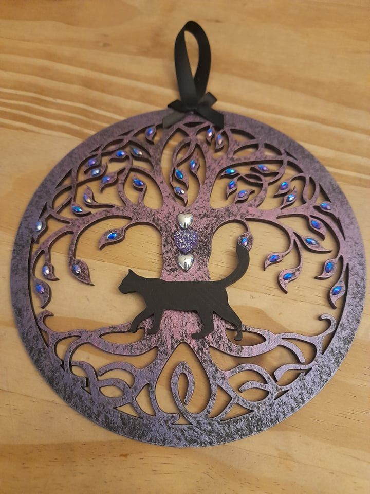 Tree Of Life Hanging Decoration - (2 Silver Stars & Purple Heart)