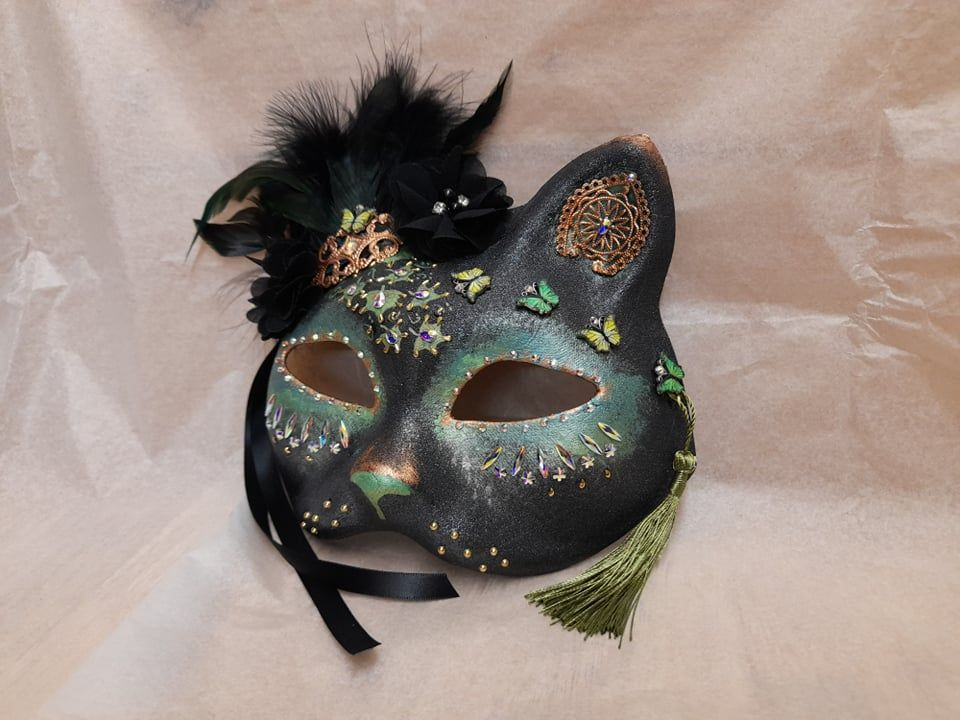 Cat Face Masquerade Mask - Green & Gold