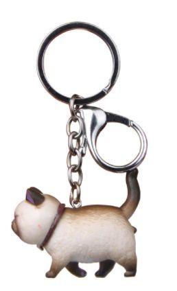 Walking Cat Keyring - Siamese