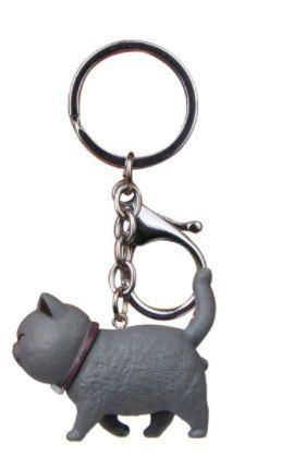 Walking Cat Keyring - Grey Cat