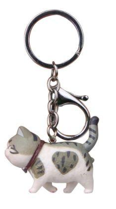 Walking Cat Keyring - Tabby & White Heart Cat