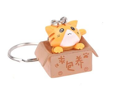 Cat In A Box Keyring - Ginger Cat